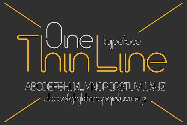 Een lijn vector lettertypeset