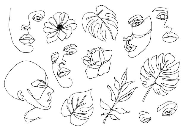 Een lijnset. continu lijntekening. abstracte vrouwenportretten, bloemen, monsterabladeren die op wit worden geïsoleerd. surrealistisch vrouwelijk gezicht lineaire contour illustratie. minimaal omtrekssilhouet.