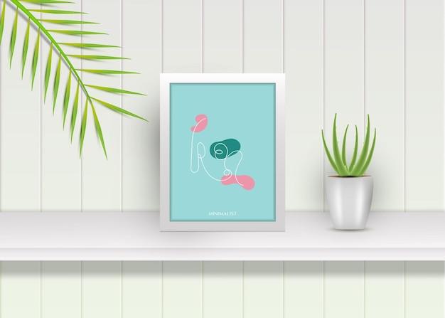 Een lijntekening minimalistisch design met realistische vierkante poster frame mockup