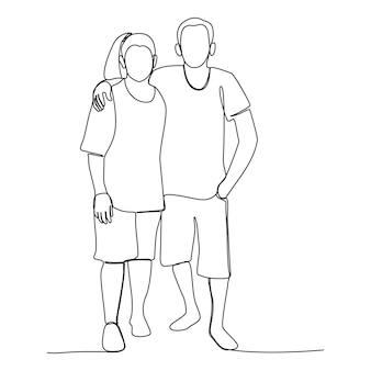 Een lijntekening van een aziatisch stel dat samen gelukkig is voor een goede relatie. handgetekende mensen voor