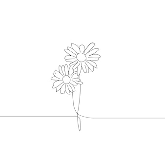 Een lijntekening van twee bloemen doorlopende lijntekeningen
