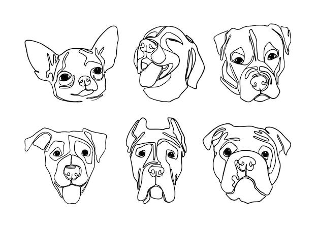 Een lijntekeningen set hondenportretten