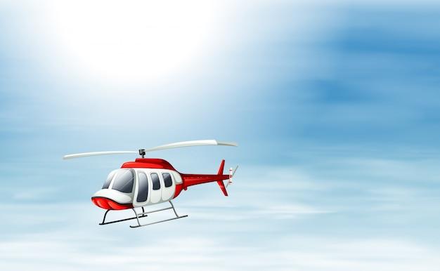Een lucht met een helikopter die vliegt