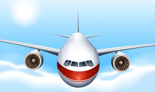 Een lucht met een vliegtuig