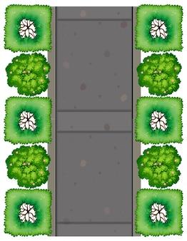 Een luchtfoto van de weg