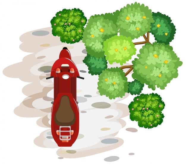 Een luchtfoto van scooter