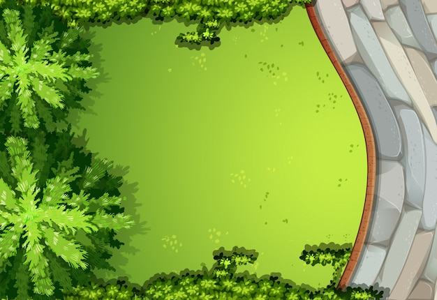 Een luchtscène van tuin