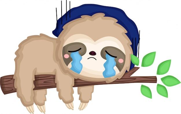 Een luiaard die heel verdrietig is