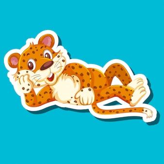 Een luipaard-stickerkarakter