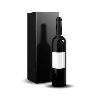 Een luxepresentatie van een donkere fles wijnverpakking