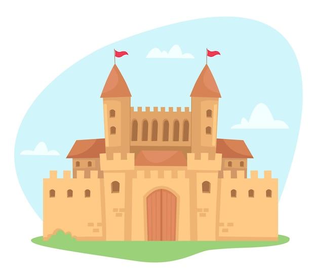 Een luxueus paleis in een sprookje dat op wit wordt geïsoleerd