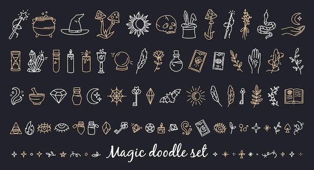 Een magische set doodle stijliconen met esoterische items