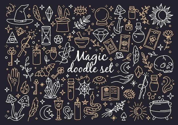 Een magische set van hekserij en mystieke pictogrammen in doodle-stijl