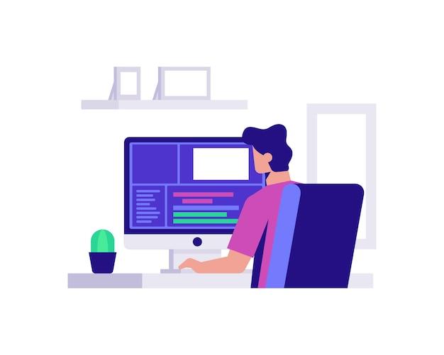 Een maker van inhoud bewerkt video op een computerillustratieconcept