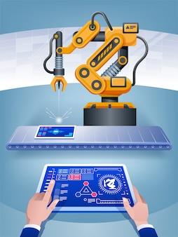 Een man beheert een slimme fabriek met behulp van een tablet en kunstmatige intelligentie