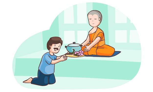 Een man biedt voedsel aan monnik