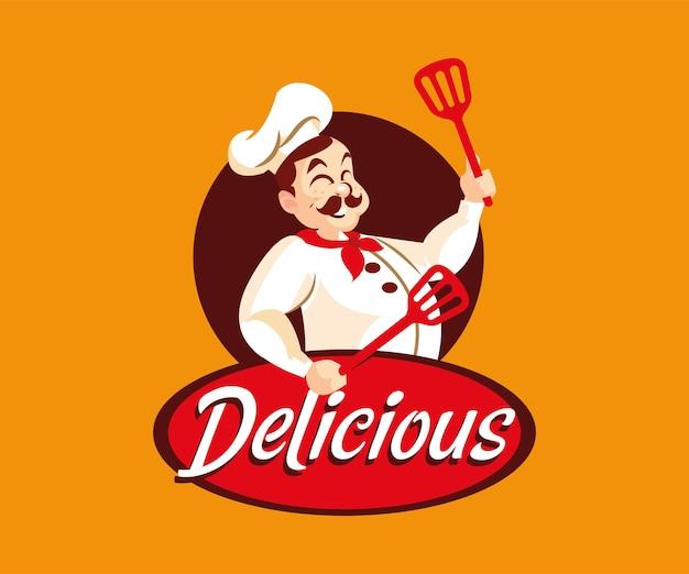 Een man chef-kok met heerlijk eten mascotte logo