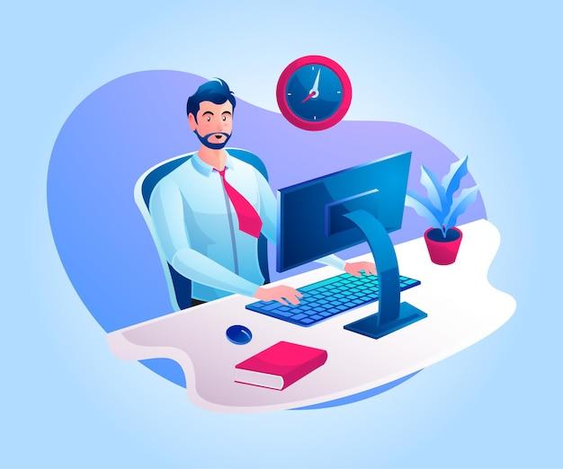 Een man die aan een bureau werkt of vanuit huis werkt