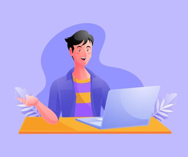 Een man die aan het werk werkt of vanuit huis werkt