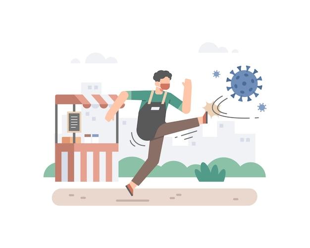 Een man die als eigenaar van een klein bedrijf een gezichtsmasker draagt en een coronaviruscel schopt om zijn illustratie van de winkel voor eten of drinken te beschermen