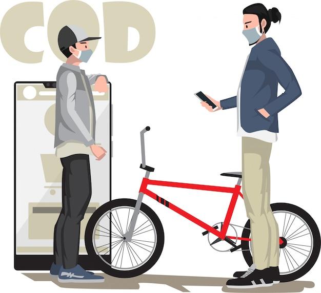 Een man die contant bij aflevering betaalt voor zijn nieuwe fiets