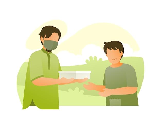 Een man die een donatie geeft aan een jonge jongen op straat