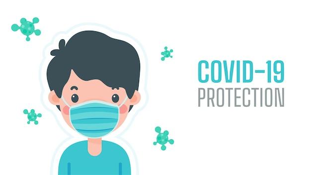 Een man die een masker draagt ter bescherming tegen virussen het concept van een masker is een schild tegen virussen.