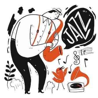 Een man die muziek speelt. verzameling van hand getrokken, vectorillustratie in schets doodle stijl.