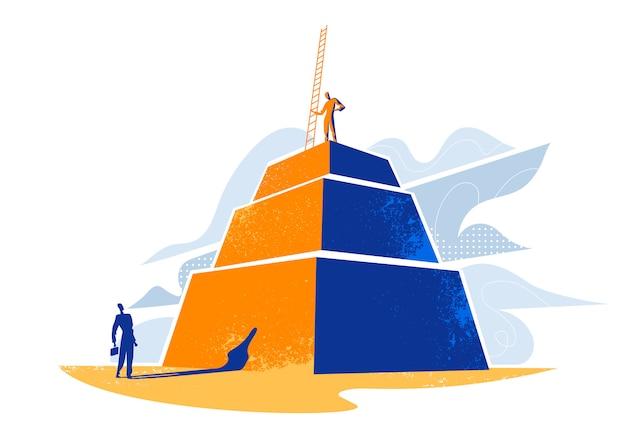 Een man die op een piramide staat met een ladder en een man onderaan de piramide die naar hem kijkt. klimmen naar succesconcept