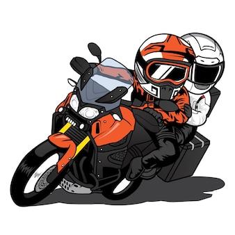 Een man die rijdt en een vrouw die zich opstapelt op een touring motorcycle with speeding