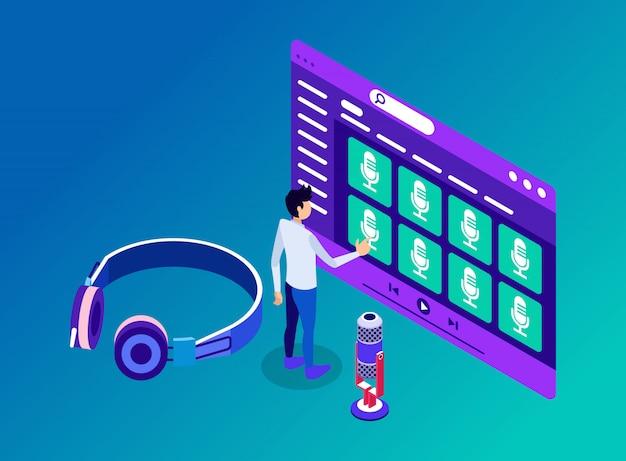 Een man die toegang heeft tot podcastkanalen en inhoud om via een hoofdtelefoon te luisteren - isometrische illustratie