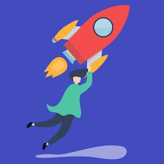 Een man die vasthoudt aan een gelanceerde raket