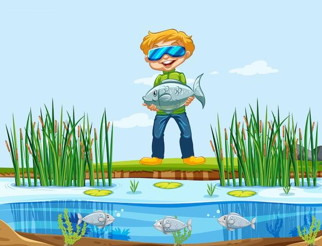 Een man die vis vangt