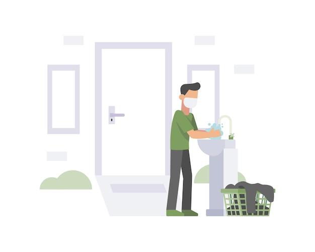 Een man draagt een gezichtsmasker en een illustratie van de handen wassen