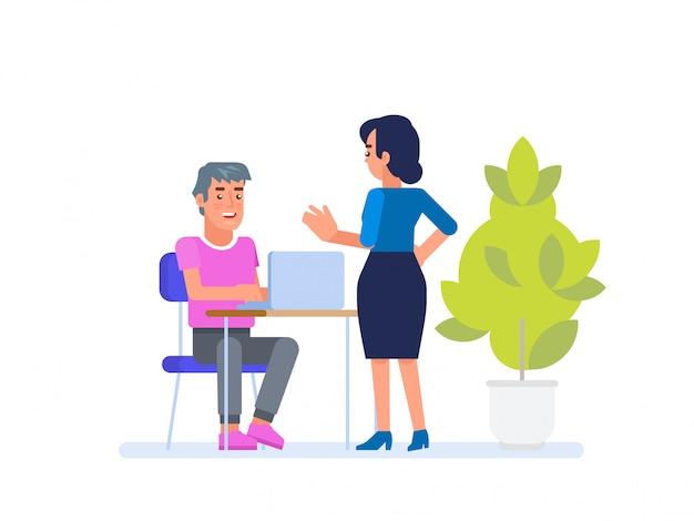 Een man en een vrouw bespreken het project,