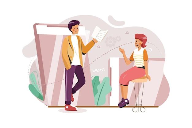Een man en een vrouw hebben zakelijke onlinevergadering door het concept van de smartphoneillustratie
