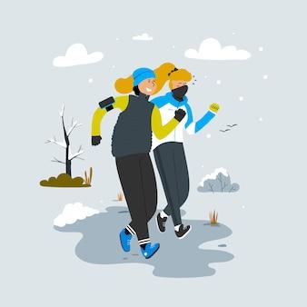 Een man en een vrouw rennen in het park samen hardlopen sporten in het koude seizoen