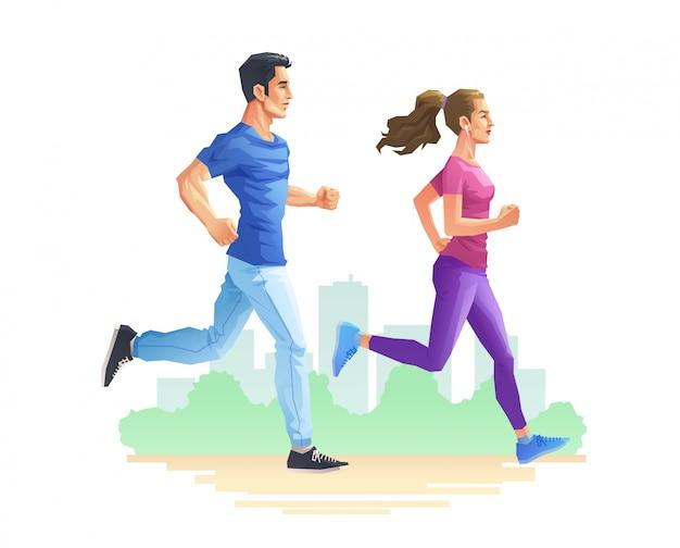 Een man en een vrouw rennen