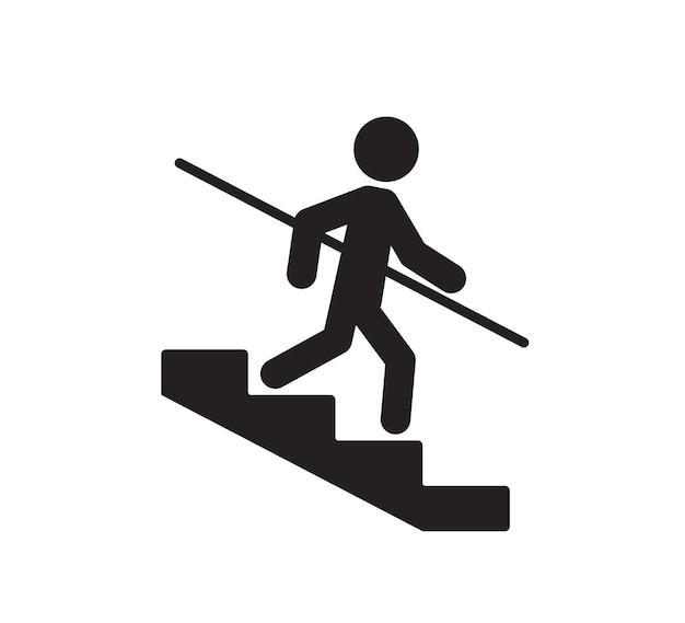 Een man gaat de trap af en houdt zich vast aan de leuning let op de trap gebruik het symboolpictogram leuningen