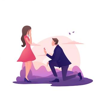 Een man geeft een meisje een ring