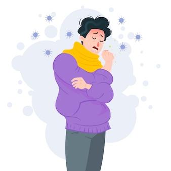 Een man hoest en verkouden