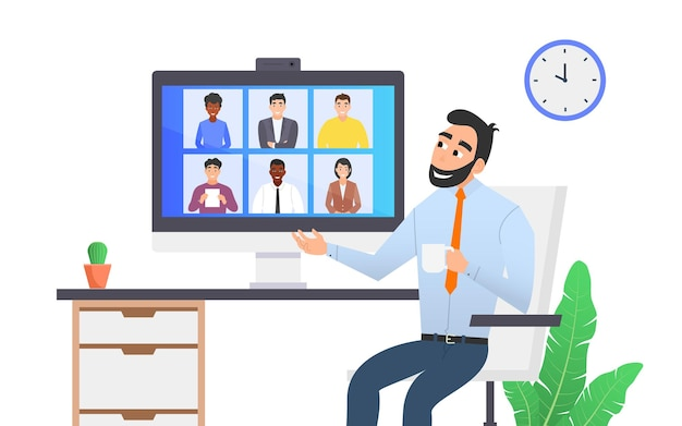 Een man houdt een videoconferentie met zijn collega's. werken op afstand, communicatie via internet. platte vector cartoon illustratie.
