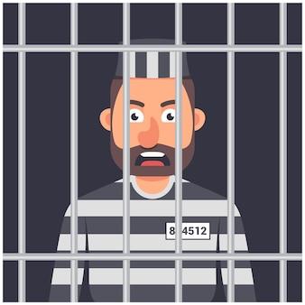 Een man in de gevangenis illustratie