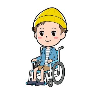 Een man in een jas en korte broek met een gebaar van rolstoel