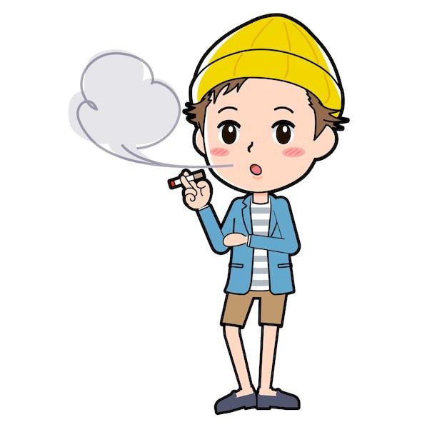 Een man in een jas en korte broek met een rookgebaar