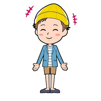 Een man in een jasje en korte broek met een gebaar van glimlach