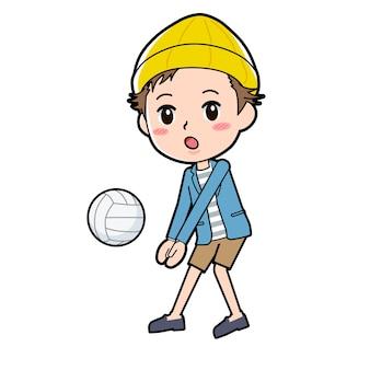 Een man in een jasje en korte broek met een gebaar van volleybal