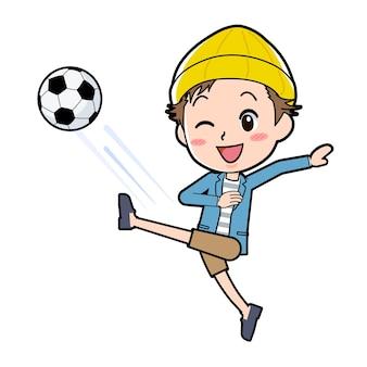 Een man in een jasje en korte broek met een voetbalgebaar