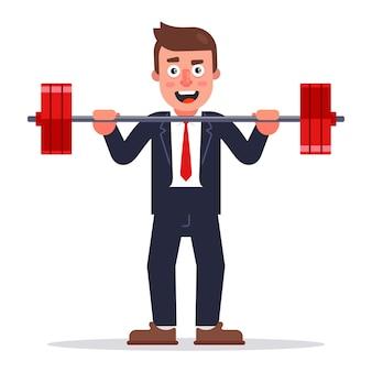 Een man in een pak heft een halter op. platte karakter illustratie.
