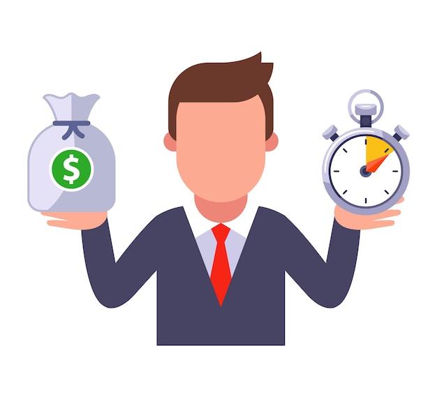 Een man in een pak houdt geld in de ene hand en in de andere tijd.